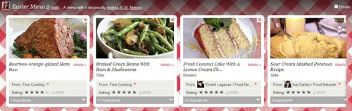 Foodily.com Easter menu screenshot