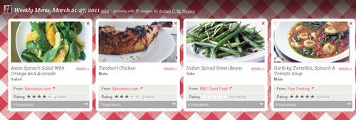 Foodily.com menu screenshot