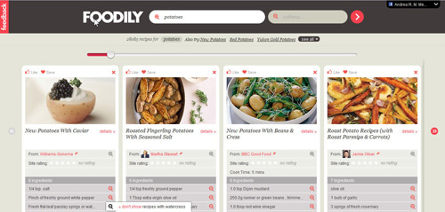 Foodily search results screenshot