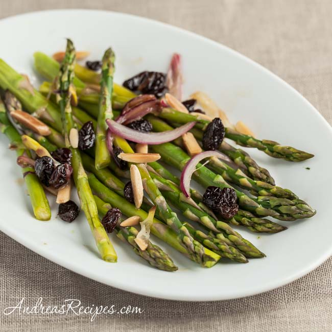 Steamed Asparagus with Red Onions, Almonds, and Raisins