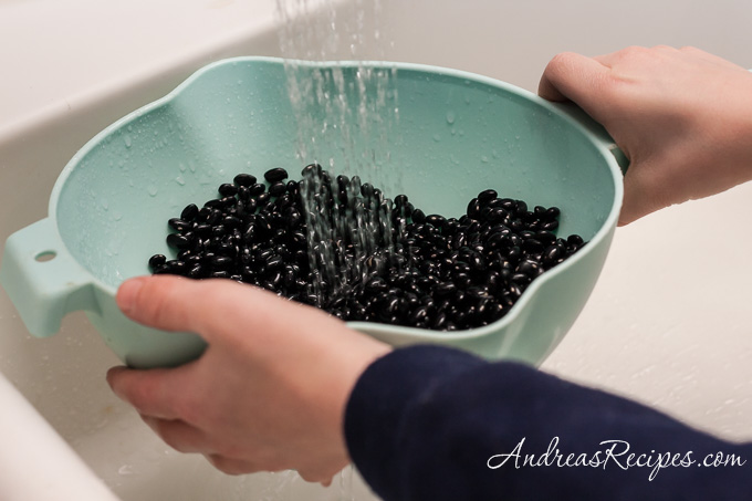 Spicy Mexican Black Beans (The Kids Cook Monday), rinse the beans - Andrea Meyers