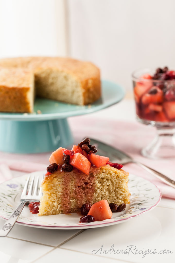 Meyer Lemon Polenta Cake with Winter Fruit Compote - Andrea Meyers