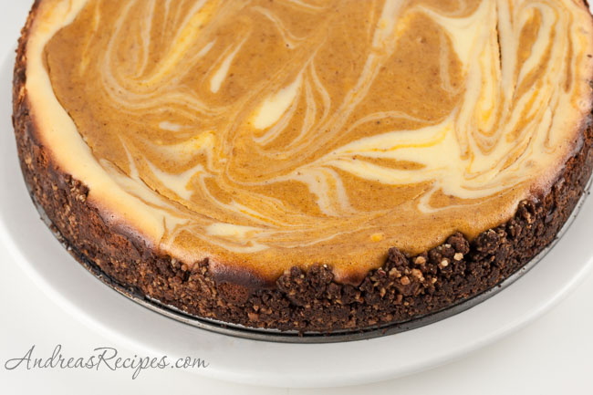 Bourbon Pumpkin Marble Cheesecake Recipe - Andrea Meyers