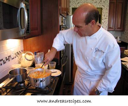 Chef Todd Gray, making butternut squash risotto