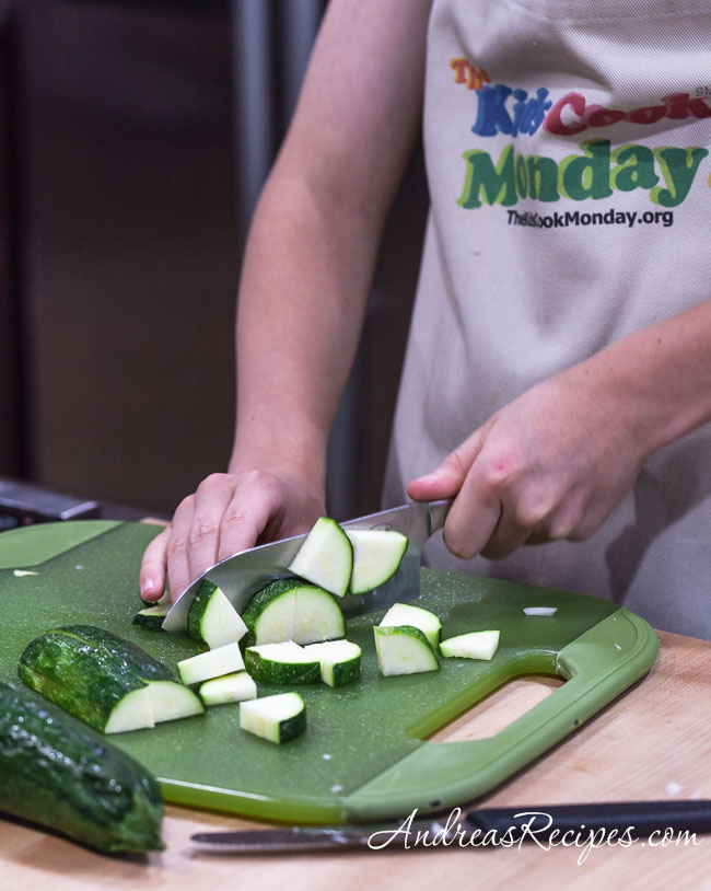 Slicing zucchini for The Kids Cook Monday - Andrea Meyers