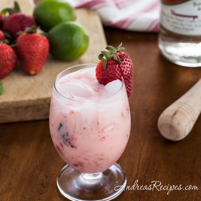 Strawberries and Cream Caipirinha Cocktail - Andrea Meyers