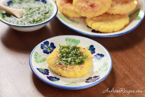 Colombian Arepas with Cheese (Arepas con Queso) with Aji - Andrea Meyers