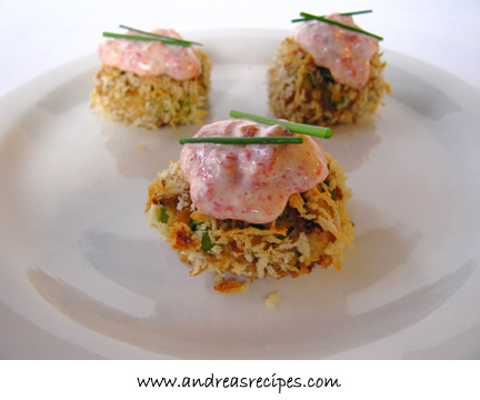 Andrea's Recipes - Crab Cakes with Roasted Pepper Chive Aioli