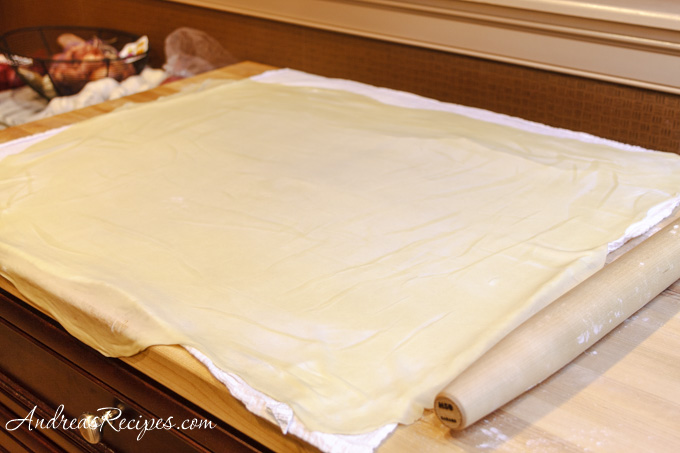 Andrea's Recipes - Strudel dough, rolled out