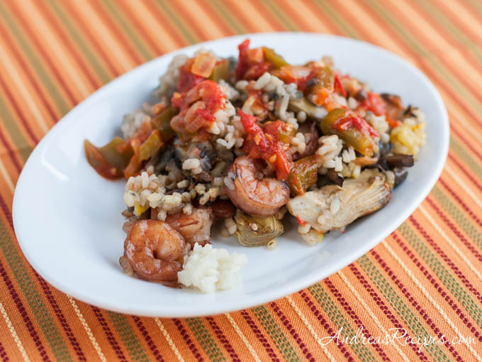 Andrea's Recipes - Rice with Mushrooms, Artichokes and Shrimp from Jose Andres