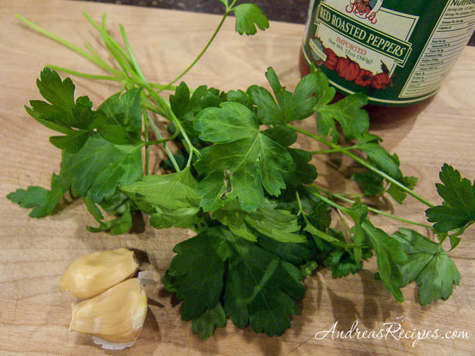 Aioli ingredients - Italian parsley, roasted red peppers, garlic