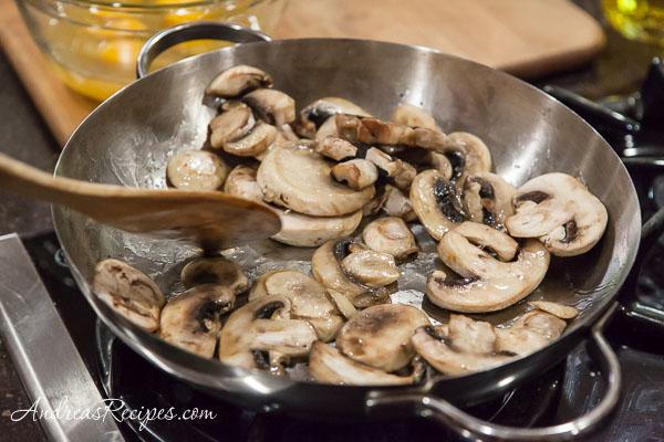 Andrea Meyers - Mushroom Chard Frittata, sauteed mushrooms