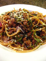 Finny Knits - Whole Wheat Spaghetti with Chard and Sausage