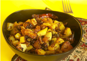 eCurry - Bitter Melon &amp; Potato Stir Fry with Poppy Seeds (Aloo Karela Bhaji)