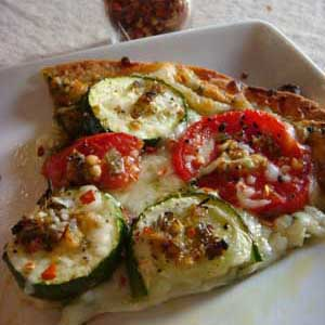 No Empty Chairs - Pizza with Roasted Zucchini Pomodoro Topping