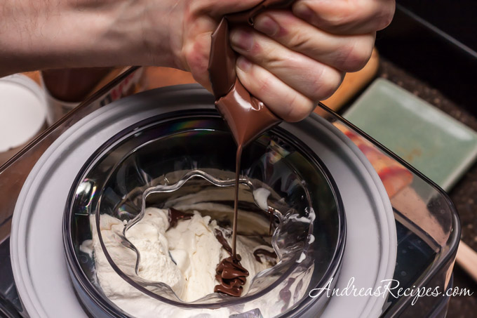 Andrea Meyers - Squeezing softened Nutella into churning banana gelato.