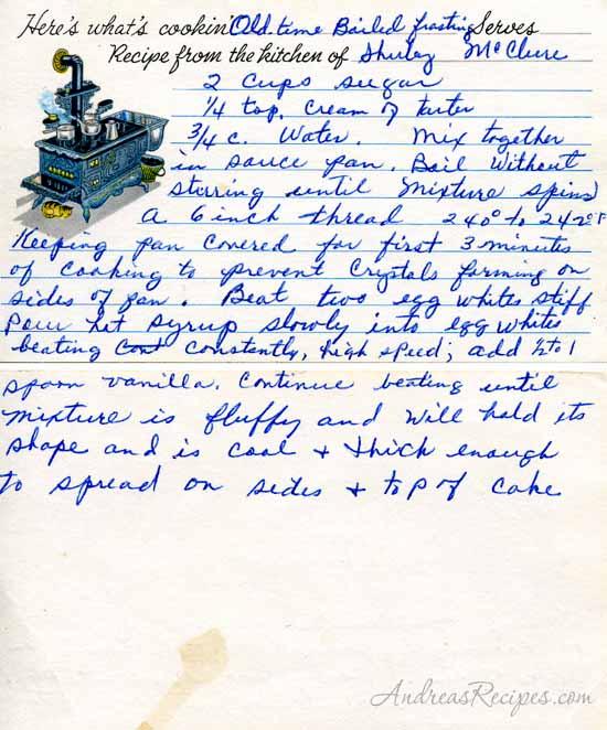 Grandma's Boiled Frosting recipe - Andrea Meyers