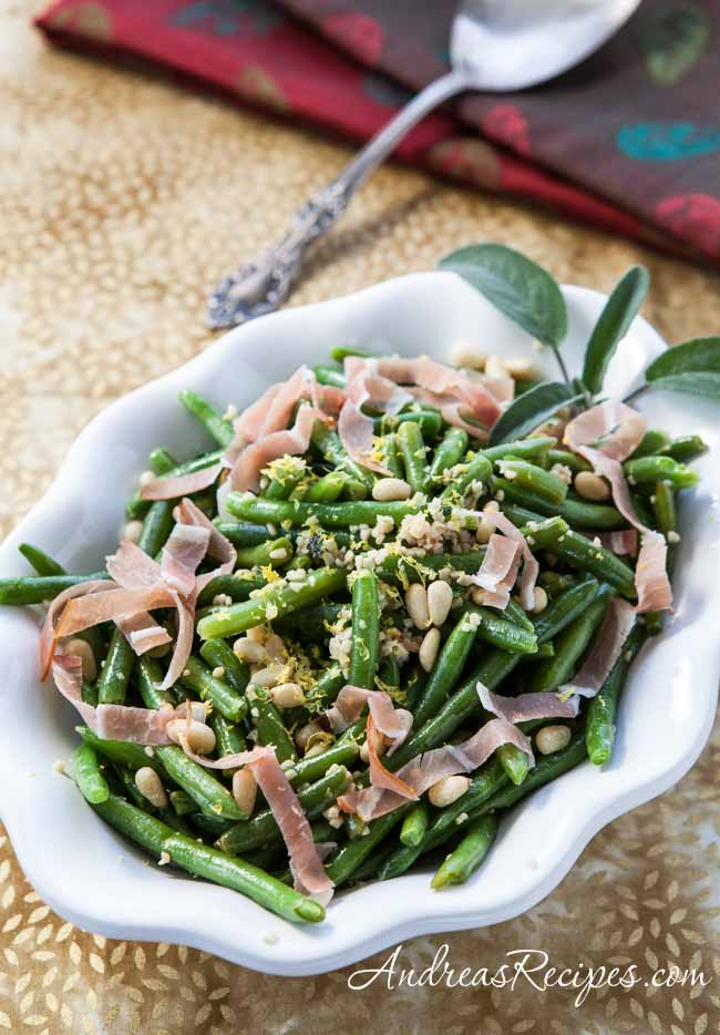 Andrea Meyers - Green Beans with Prosciutto and Pine Nuts