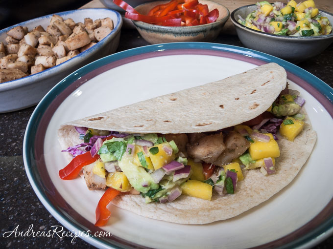 Andrea's Recipes - Grilled Fish Tacos with Mango-Avocado Salsa