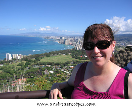 Andrea at the top of Diamond Head, Hawaii