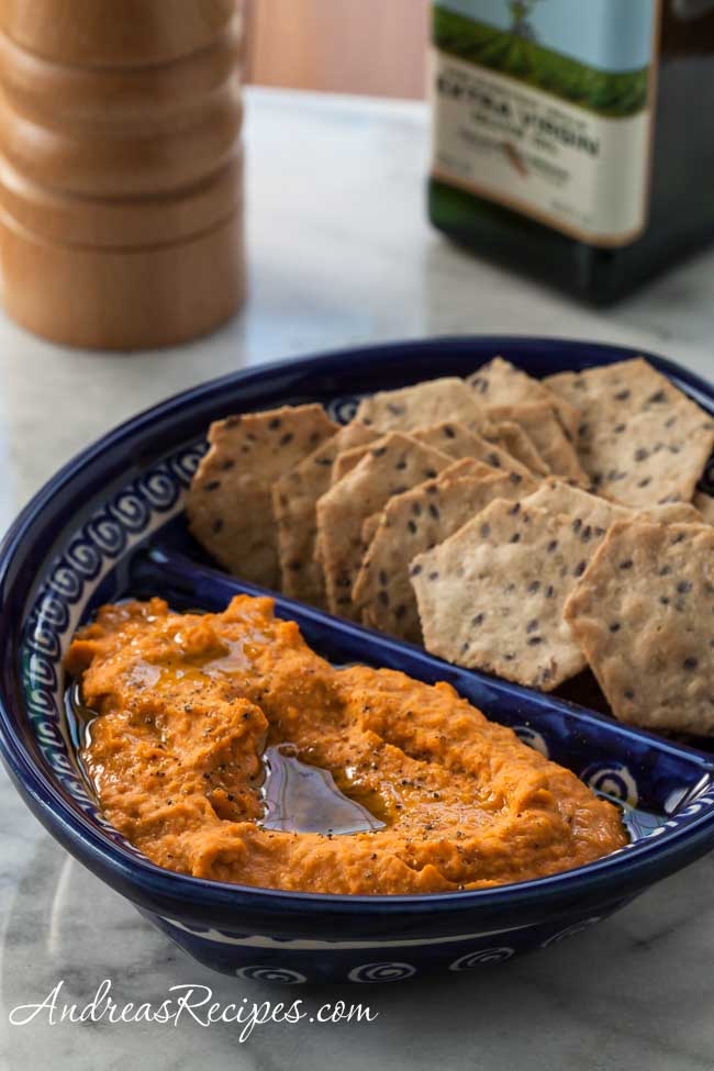 Roasted Red Pepper Hummus - Andrea Meyers