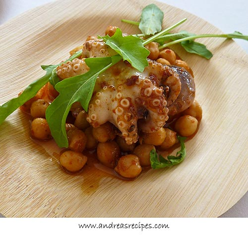 Andrea Meyers - baby octopus with chick peas and arugula