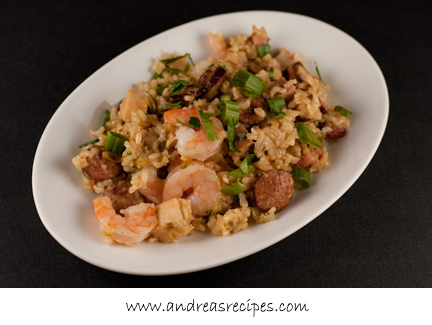 Andrea's Recipes - Jambalays with Shrimp, Chicken, Andouille, and Ham
