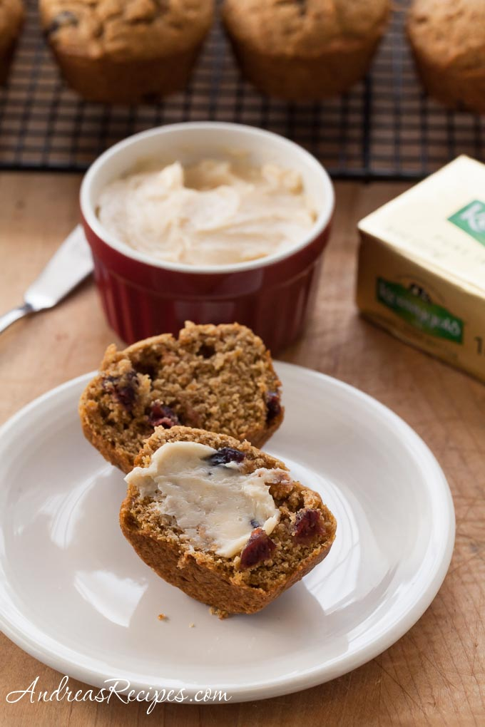 Sweet Potato and Cranberry Muffins with Maple Butter - Andrea Meyers
