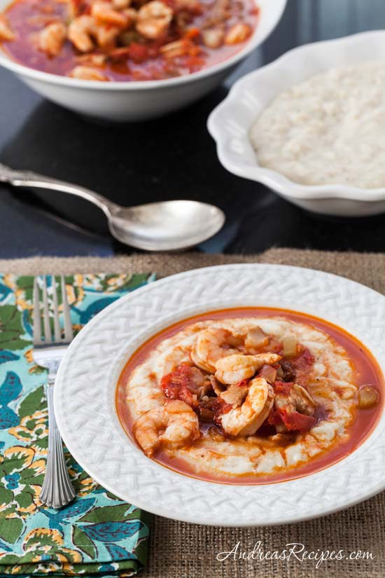 Shrimp in Tomato Gravy with Creamy Grits (aka Shrimp and Grits) - Andrea Meyers