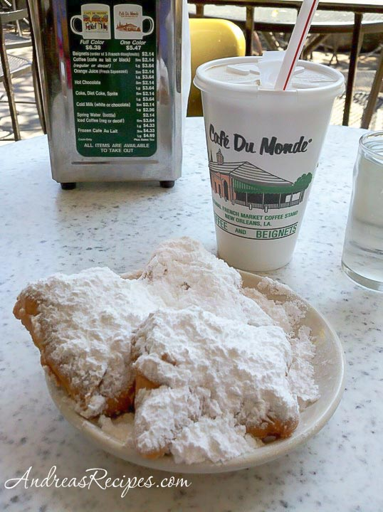 Beignets and cafe au lait, Cafe Du Monde, New Orleans - Andrea Meyers