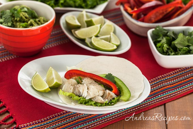 Fish and Bell Pepper Soft Tacos - Andrea Meyers