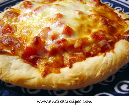 Pizza with Andrea's Sauce and Tomatoes