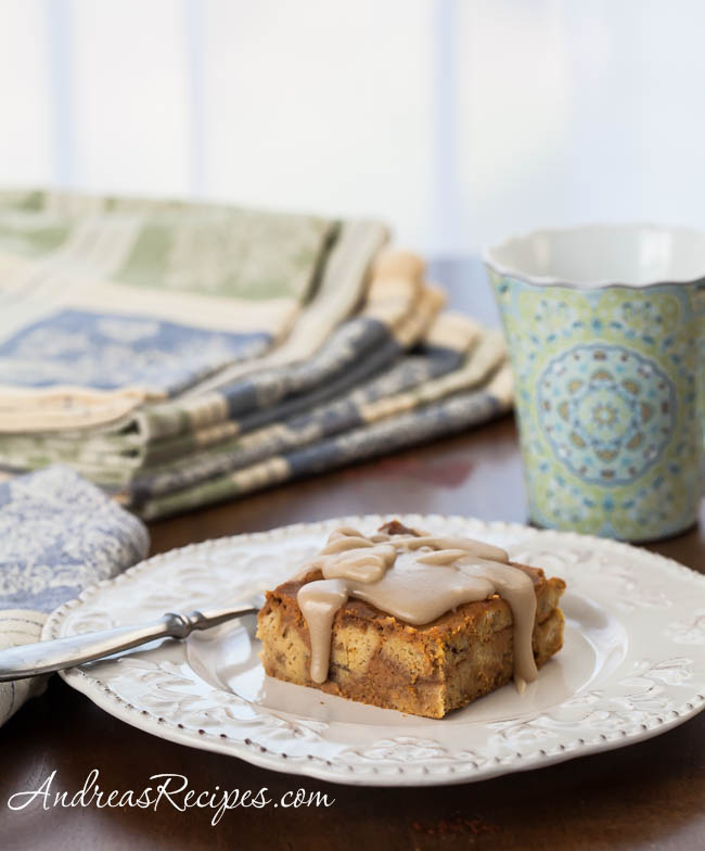 Andrea Meyers - Pumpkin Bread Pudding with Maple Glaze