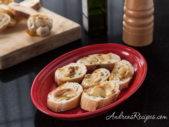 Roasted Garlic with Crusty Bread and Olive Oil - Andrea Meyers