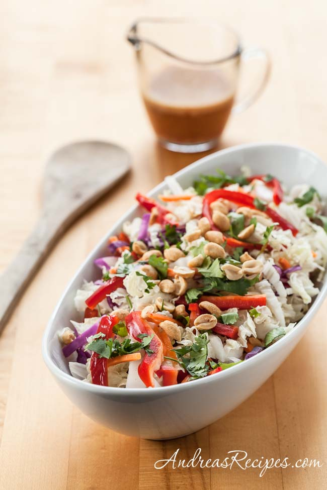 Thai Cabbage Salad with Spicy Peanut Butter Dressing - Andrea Meyers