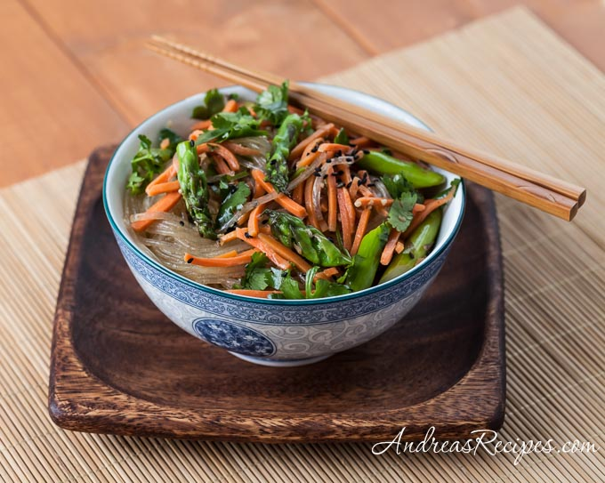 Asparagus Noodle Salad with Sesame Ginger - Andrea Meyers