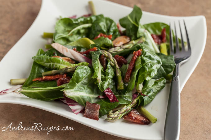 Andrea Meyers - Baby Chard Salad with Asparagus, Sun-Dried Tomatoes, and Hot Bacon Dressing