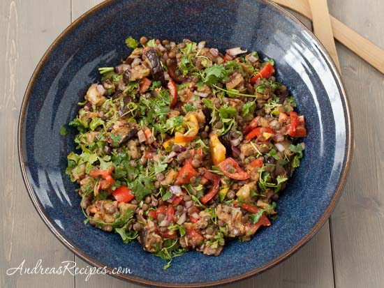 Grilled Eggplant Salad with Lentils and Tomatoes
