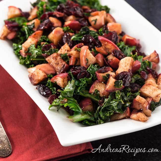 Warm Kale Salad with Dried Cranberries and Apples - Andrea Meyers