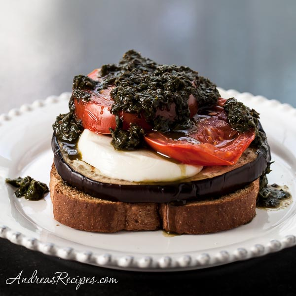 Open-Faced Grilled Eggplant Sandwiches with Pesto, Tomatoes, and Fresh Mozzarella - Andrea Meyers