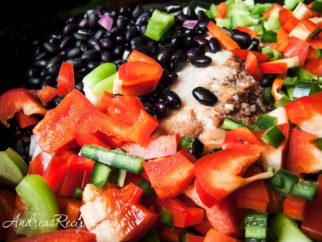 Black Bean Soup with Ham and Five Peppers, before cooking