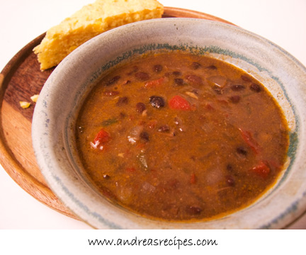 Black Bean Soup with Ham and Five Peppers
