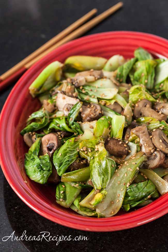 Stir-Fried Baby Bok Choy with Mushrooms - Andrea Meyers
