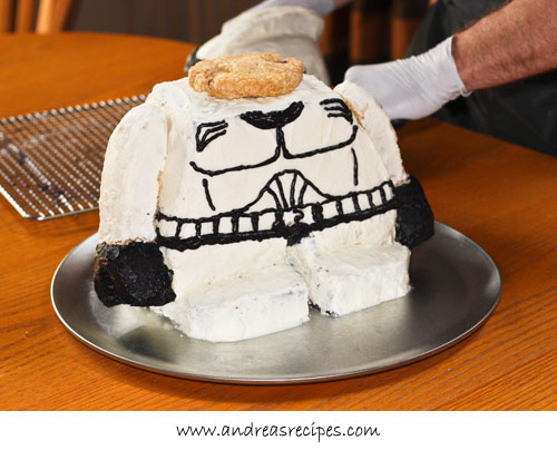 Andrea Meyers - rice crispy cookie base for the head, Lego Star Wars Stormtrooper birthday cake