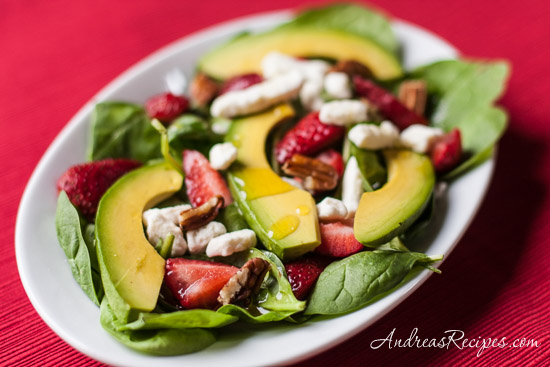 Strawberry Spinach Salad with Avocado and Champagne Vinaigrette - Andrea Meyers