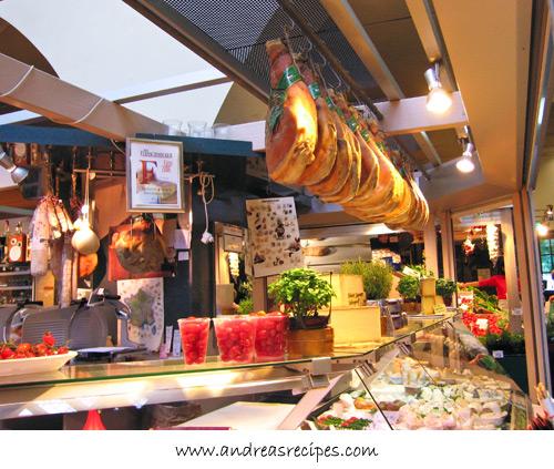 Andrea's Recipes - Stuttgart Markthalle, Italian hams