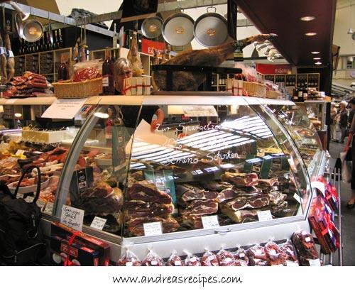 Andrea's Recipes - Stuttgart Markthalle, Serrano hams