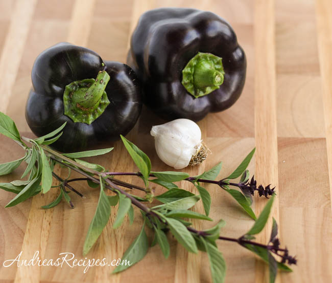 Andrea Meyers - homegrown Purple Beauty peppers, garlic, and Thai basil