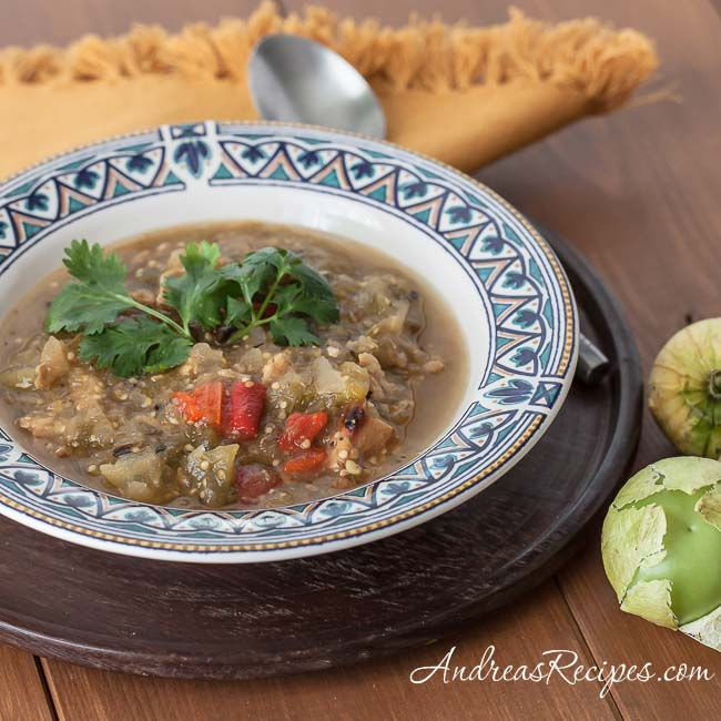 Grilled Tomatillo Chili - Andrea Meyers