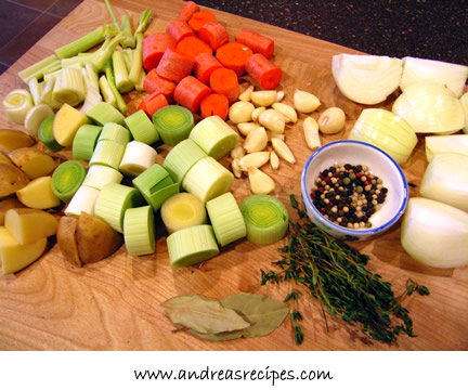 Vegetable Stock, prepped ingredients - Andrea Meyers